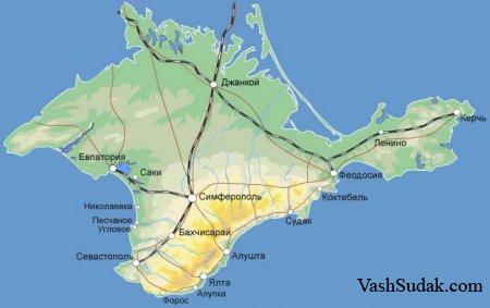 Географическое положение и границы Крыма