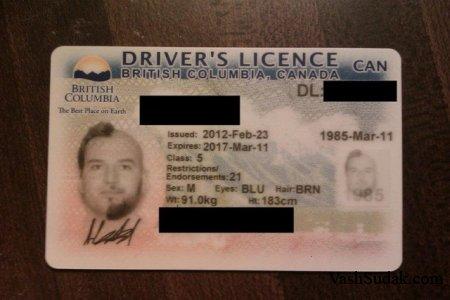 Фотография на водительских правах ...